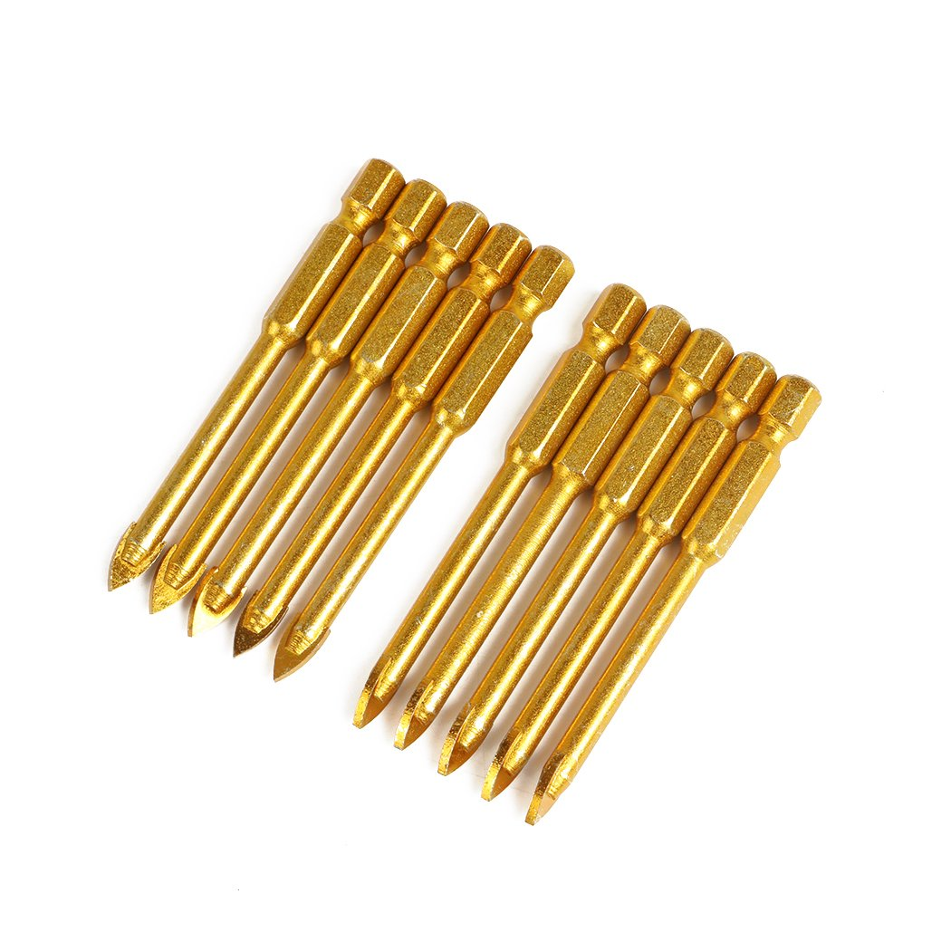 Lot de 10pcs 6mm Foret Triangle en Alliage pour C/éramique Marbre Carreau Verre Forets Hexagonaux Titane Anti-oxydation pour Outil de Per/çage Miroir//Verre//Tuile