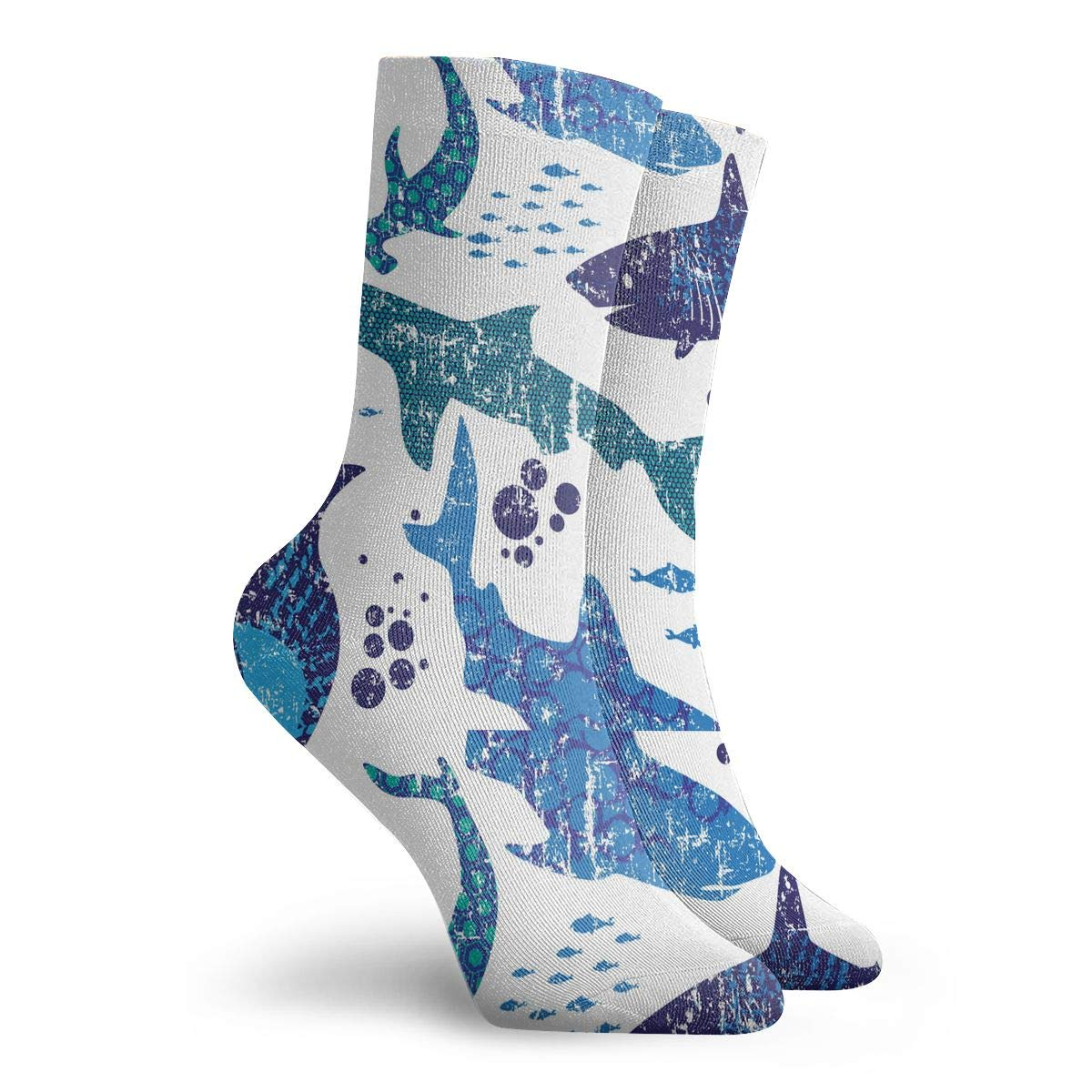 Adult Abstract Sharks Pattern Cushion Crew Socks