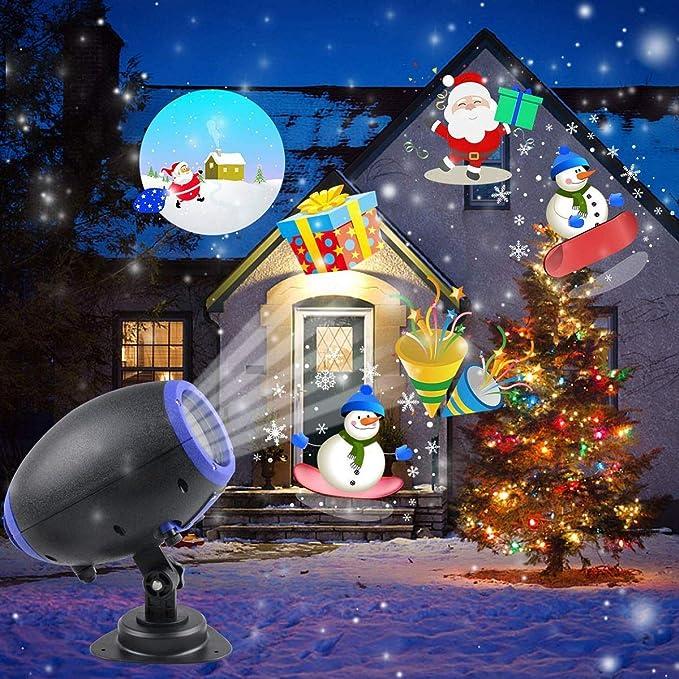 bdfd23be046 Proyección luces de Navidad 10 patrón luz proyector con mando a distancia  Interior y Exterior Jardín Decoración Iluminación Exterior Navidad  Halloween ...