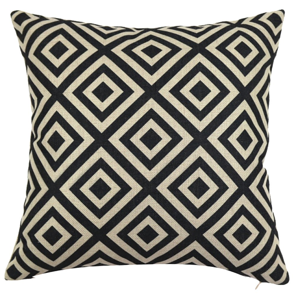 ChezMax Square Black and White Geometric Printed Cushion Cover Cotton Throw Pillow Case Sham Slipover Pillowslip Pillowcase For Hotel Decorative Decor Chair Sofa Couch