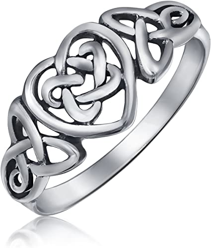 BFF Irish Love Knot Celtic Infinity Band Ring For Girlfriend For Teen Oxidized 925 Sterling Silver
