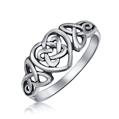Bling Jewelry Sterling Silver Irish Celtic Knots Heart Promise Ring VCAw82