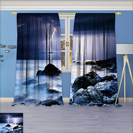 Room Darkening Thermal Insulated Grommet Window Curtains Summer Storm Beginning With Lightning Set Of Two Panels 72w X 96l Inch Amazon Co Uk Kitchen Home
