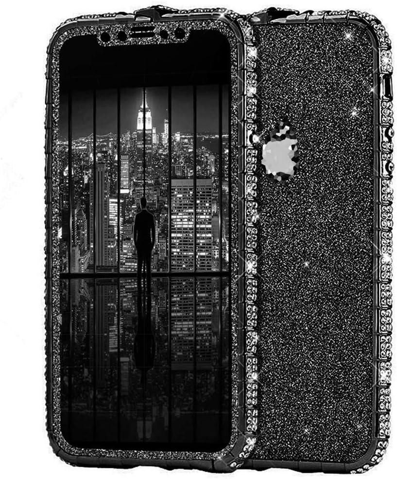 Herbests Kompatibel mit iPhone X H/ülle Bling Gl/änzend Glitzer H/ülle Strass Diamant Handyh/ülle Kratzfest Schutzh/ülle Tasche Crystal Case Aluminium Rahmen Metall Bumper,Silber