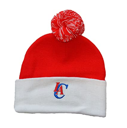 daf6e35fb1d adidas Los Angeles Clippers White Cuff Beanie Hat with Pom - NBA Knit Cuffed  Toque Cap