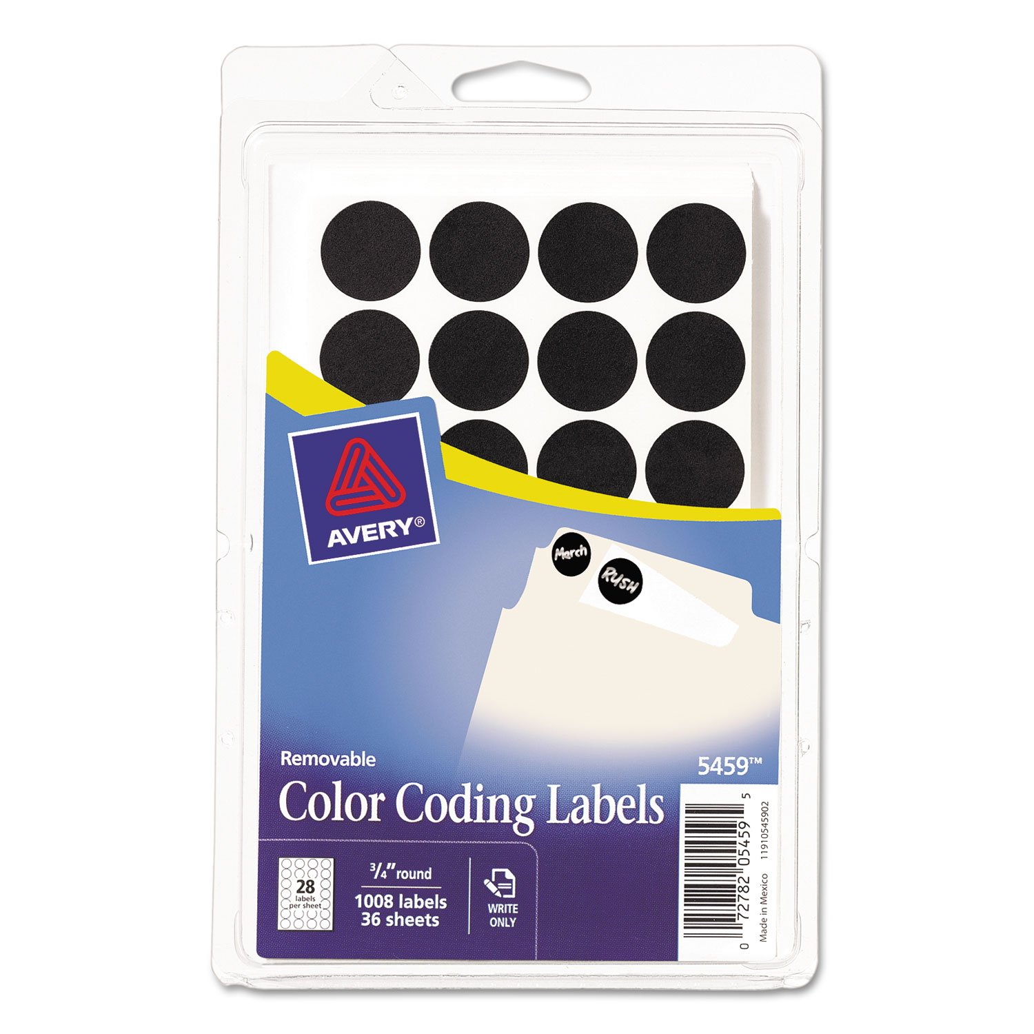 Avery 05459 Removable Round Labels, 3/4'' Diameter, Black, 1008 Labels/Pack by Avery (Image #1)