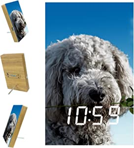 Desheze Kids Alarm Clock Cute Puppy Rose Flower Digital LED Clock Voice Control with USB Charging for Toddlers Boys & Girls' Bedroom/Bedside 6.2x3.8x0.9 in
