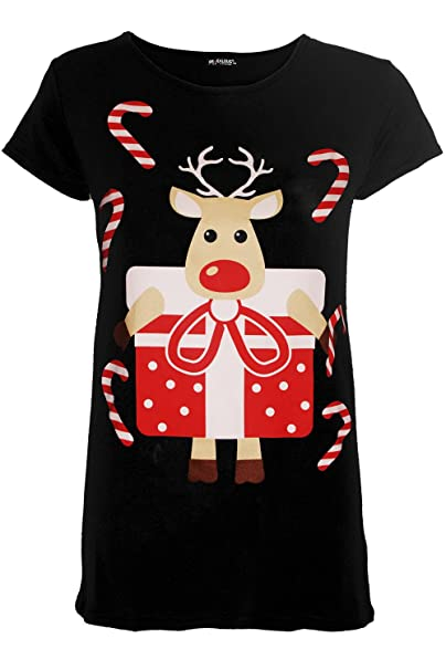 1ce3cf4feee Be Jealous Womens Christmas Cap Sleeve Reindeer Gingerbread Santa Ladies  Xmas Tee Shirt Top UK Plus Size 8-22  Amazon.co.uk  Clothing
