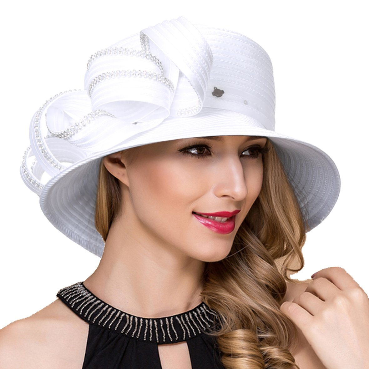 Lady Church Derby Dress Cloche Hat Fascinator Floral Tea Party Wedding Bucket Hat S051 (SD708-White) by Ruphedy
