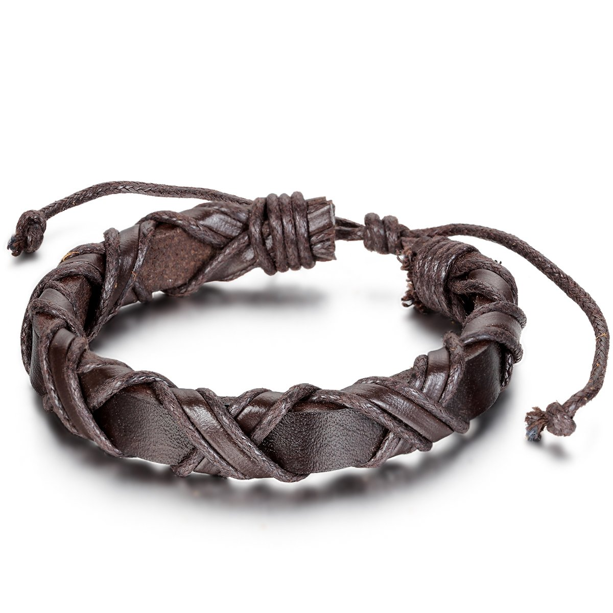Flongo Men's Unisex Braided Handmade Infinity Symbol Brown Leather Strap Cuff Bracelet, Fit 8-10 inch Wrist