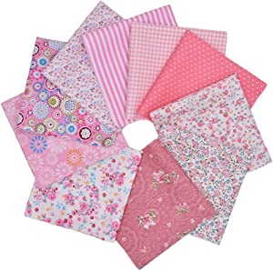 RayLineDo 10pcs 12 x 12 inches (30cmx30cm) Print Cotton Pink Series Fabric Bundle Squares Patchwork DIY Sewing Scrapbooking Quilting Pattern Artcraft Collection B