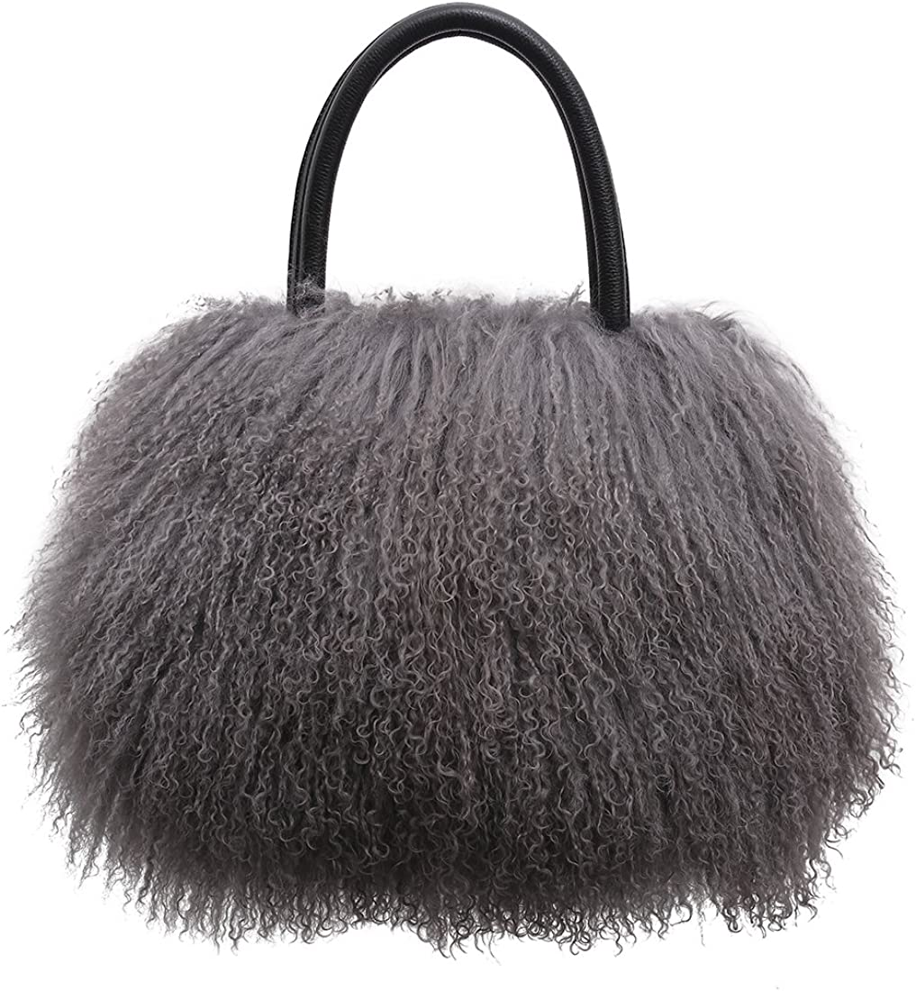 URSFUR Women s Mongolian Lamb Fur Handbag Ladies Winter Shoulder Tote Bags Girls