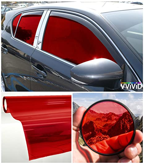 Red Window Tint >> Vvivid Colorful Transparent Vinyl Car Window Tinting 30 Inch X 60 Inch 2 Roll Pack Red