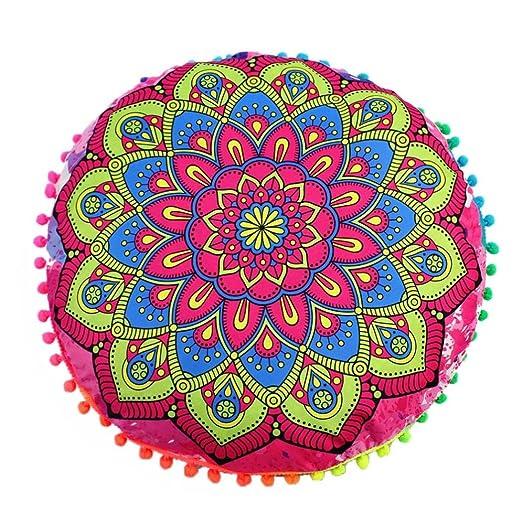 Viahwyt indio mandala suelo almohadas redondo bohemio cojín ...