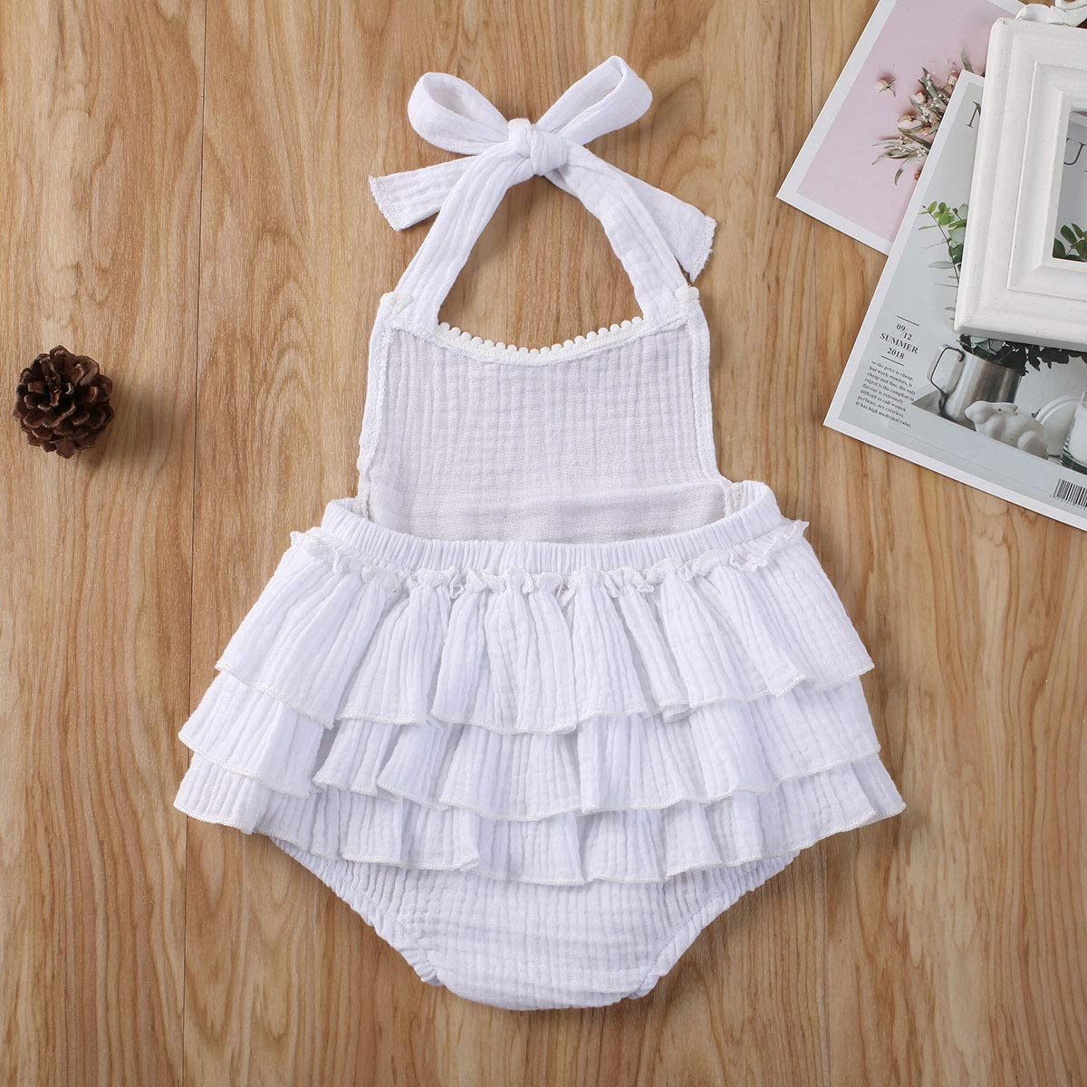 YUION Newborn Infant Baby Girl Romper Halter Sleeveless Backless Bodysuit Cotton Linen Jumpsuit One Piece Outfit Clothes