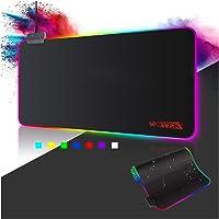 Alfombrilla de Ratón RGB, (800×300×4mm) 7 Colores con 14 Modos de Luz , Alfombrilla Gaming Extra Grande Base de Goma…