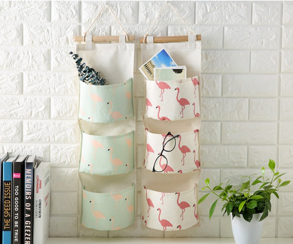 Over the Door Closet Organizer, 2 Packs Wall Hanging Storage Bags with 3 Pockets for Bedroom & Bathroom (Pink and Green)