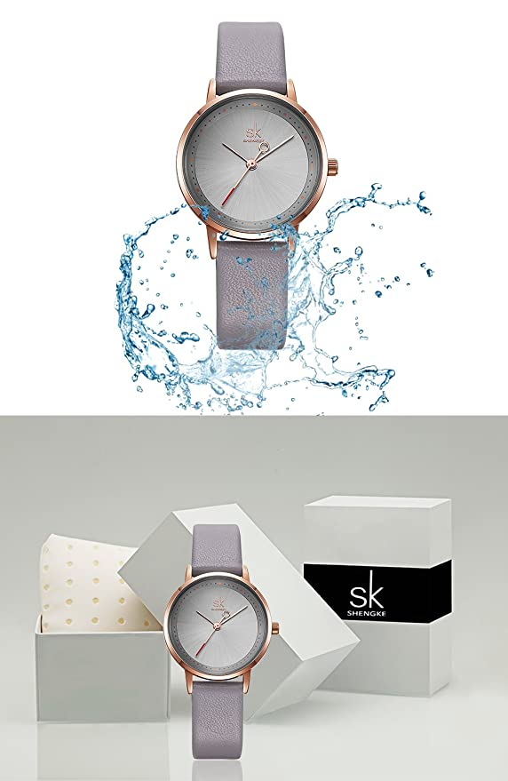 Amazon.com: Women Waterproof Watches Leather Band Round Case Fashion Ladies Watches Relojes Mujer (8045 Grey): Watches