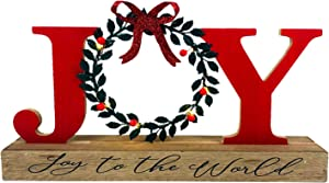 HOMirable Christmas Joy Sign with Wreath for O, LED Lighted Rustic Tabletop, Rustic Home Decor, Bowknot Farmhouse Wooden Decorative Sign, Holiday Xmas Display Box Sign Decoration Gift