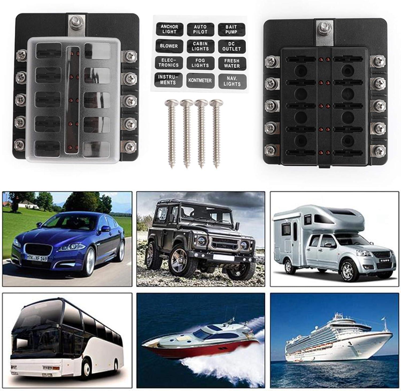 10 way Blade Fuse Box Block Holder LED Indicator for Automotive Car Marine Boat