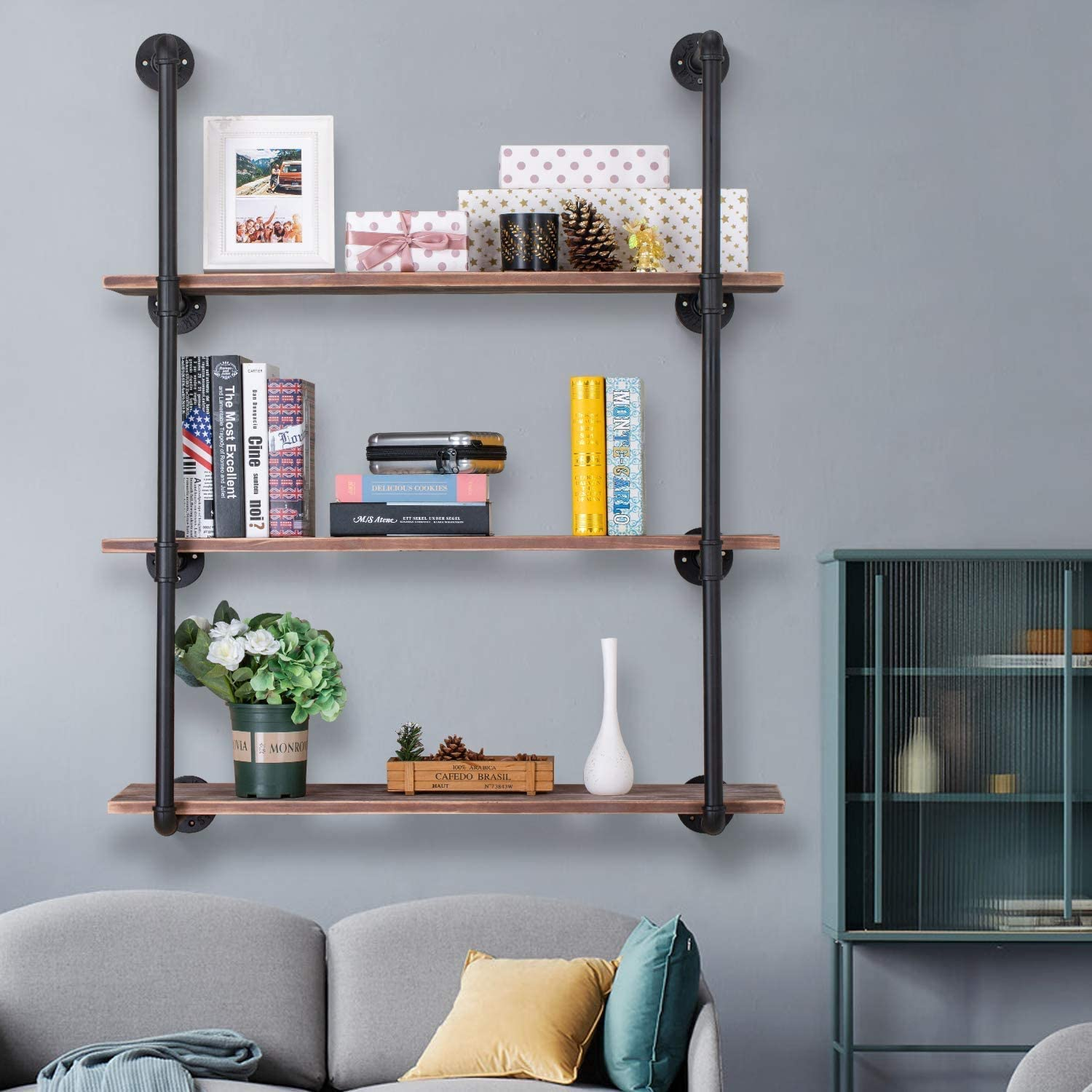 Pynsseu Industrial Iron Pipe Shelving Brackets Unit, Farmhouse Wall Mounted Pipe Shelves for Kitchen Bathroom, DIY Bookshelf Living Room Storage, 3Pack of 4 Tier