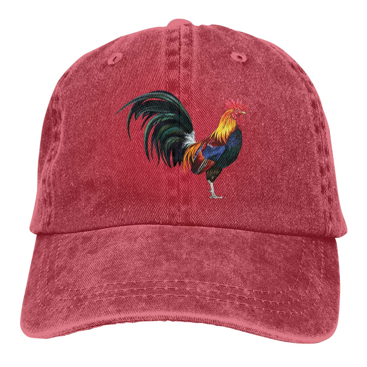 Adult Unisex Jeans Cap Adjustable Hat Rooster Vintage Cotton Denim