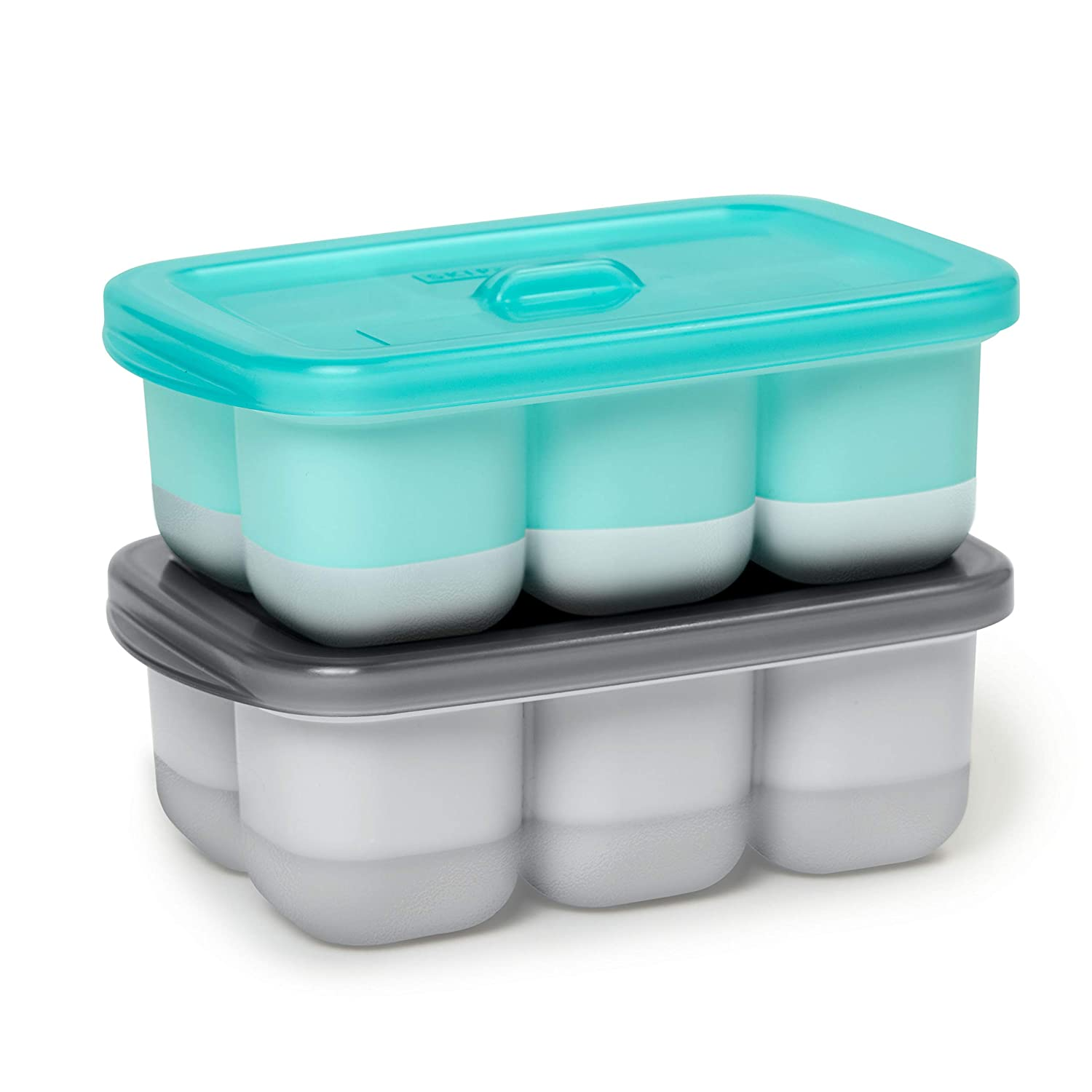 Skip Hop Baby Fresh Feeding: Easy-Fill Freezer Trays, 2 Pieces, Grey/Teal