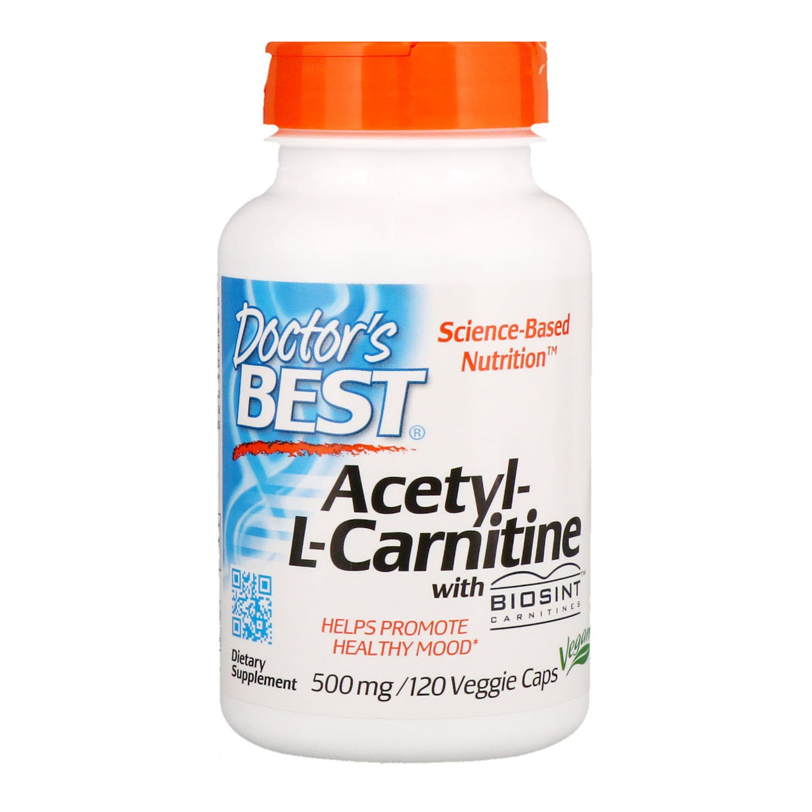 Doctor's Best Acetyl-L-Carnitine with Biosint Carnitines, Non-GMO, Vegan, Gluten Free, 500 mg 120 Veggie Caps