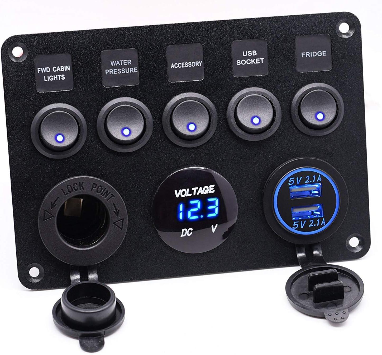 X-ZBS 5 Interruptores de pandillas Panel de Control Interruptor basculante LED 12V / 24V Marine Boat Car 2 USB