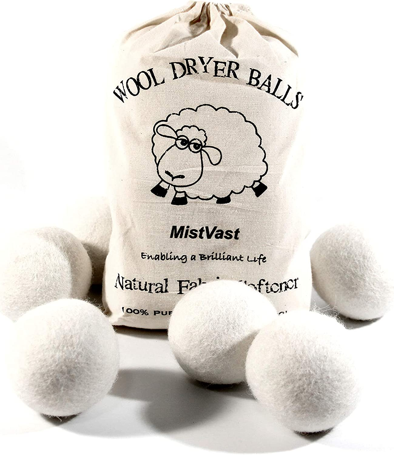WIWAV MistVast Wool Dryer Balls Organic Extra Large, Natural Fabric Softener, Chemical Free Eco Wool Dryer Balls Laundry, 6 Pack
