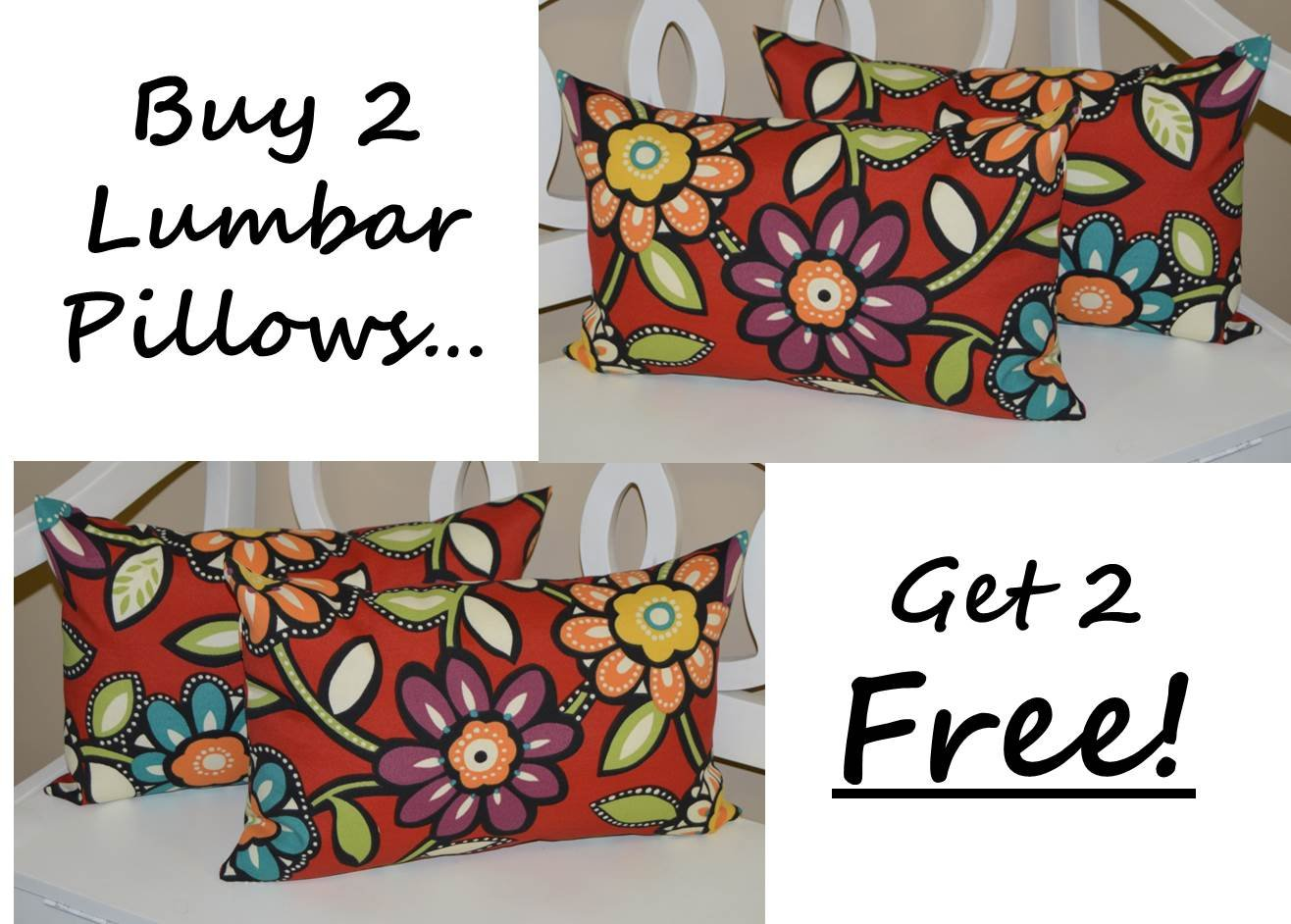 Set of 2 - Indoor / Outdoor Decorative Lumbar / Rectangle Pillows + 2 Free - Red, Yellow, Blue, Green Contemporary Floral by Resort Spa Home Decor