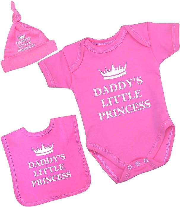 8b20e9b3 Babyprem Baby Bodysuit Bib Hat Set Daddy's Little Princess Girl Clothes 0-3  Months Pink: Amazon.co.uk: Clothing