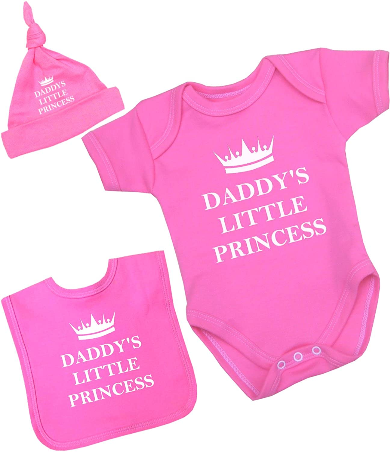 BabyPrem Baby Bodysuit Bib Hat Set Daddy's Little Princess Girl Clothes Pink Red DP036