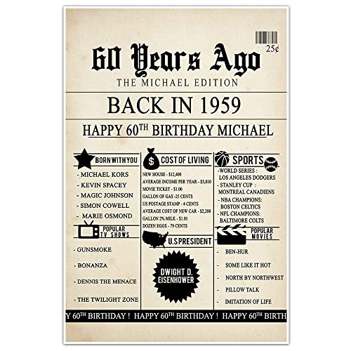 Amazon 60th Birthday Newspaper Born In 1959 Stats Sign Photo