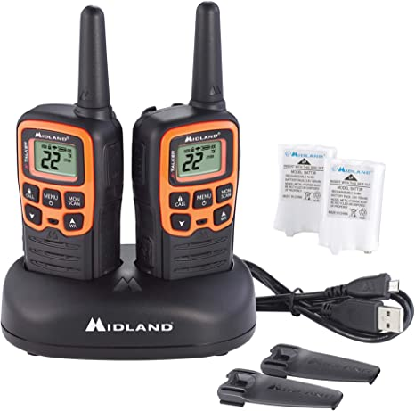 NOAA Weather Alert 38 Privacy Codes Two-Way Radio Blue, 4-Pack Midland X-TALKER 22 Channel FRS Walkie Talkie for Kids