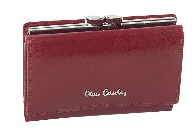 cartera mujer PIERRE CARDIN rojo en cuero con monedero externo A5117