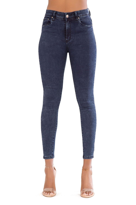 LustyChic Lusty Chic Mujeres Azul Negro Blanco Skinny–elástico de Alta Cintura Pantalones Vaqueros Pantalones Slim Fit cómodo para Mujer tamaño 6–14
