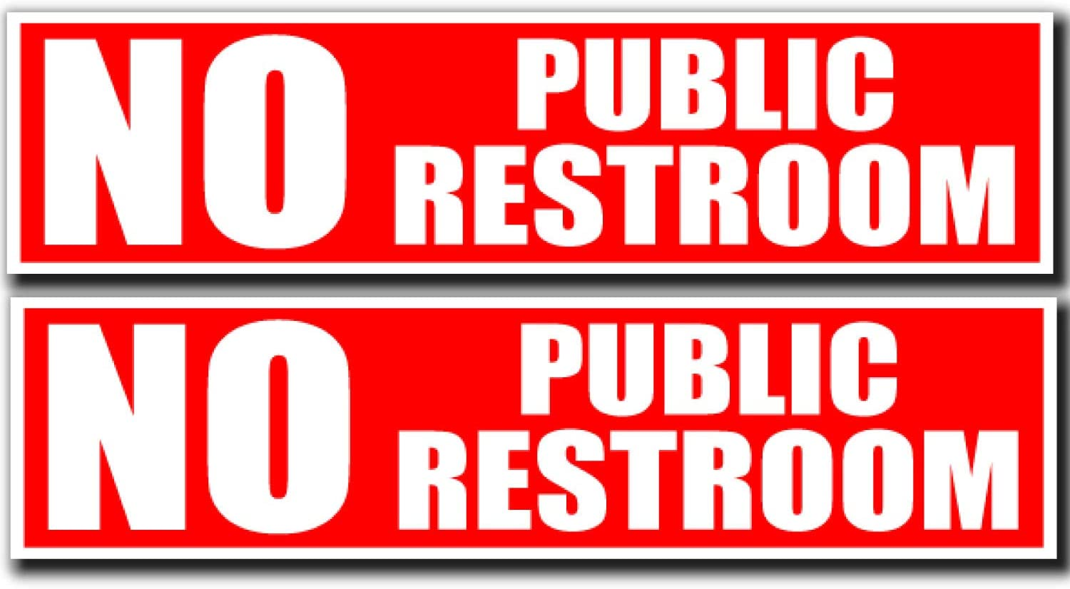 No Public Restroom Sign | Peel and Stick Bathroom Decal Sticker for Door or Window | (8 x 2 inches) Perfect Office or Business | Works on Glass Metal or Any Smooth Surface | Red and White (2)