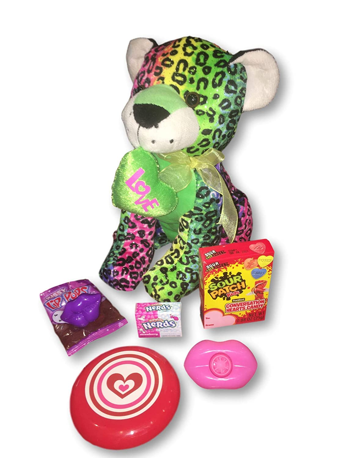 Amazon.com : Gift Valentine - Girls Valentines Day Plush LOVE Leopard & Sour Patch Conversation Hearts, Nerds, Kissy Lip Pops & Fun Items (Rainbow Sparkle ...