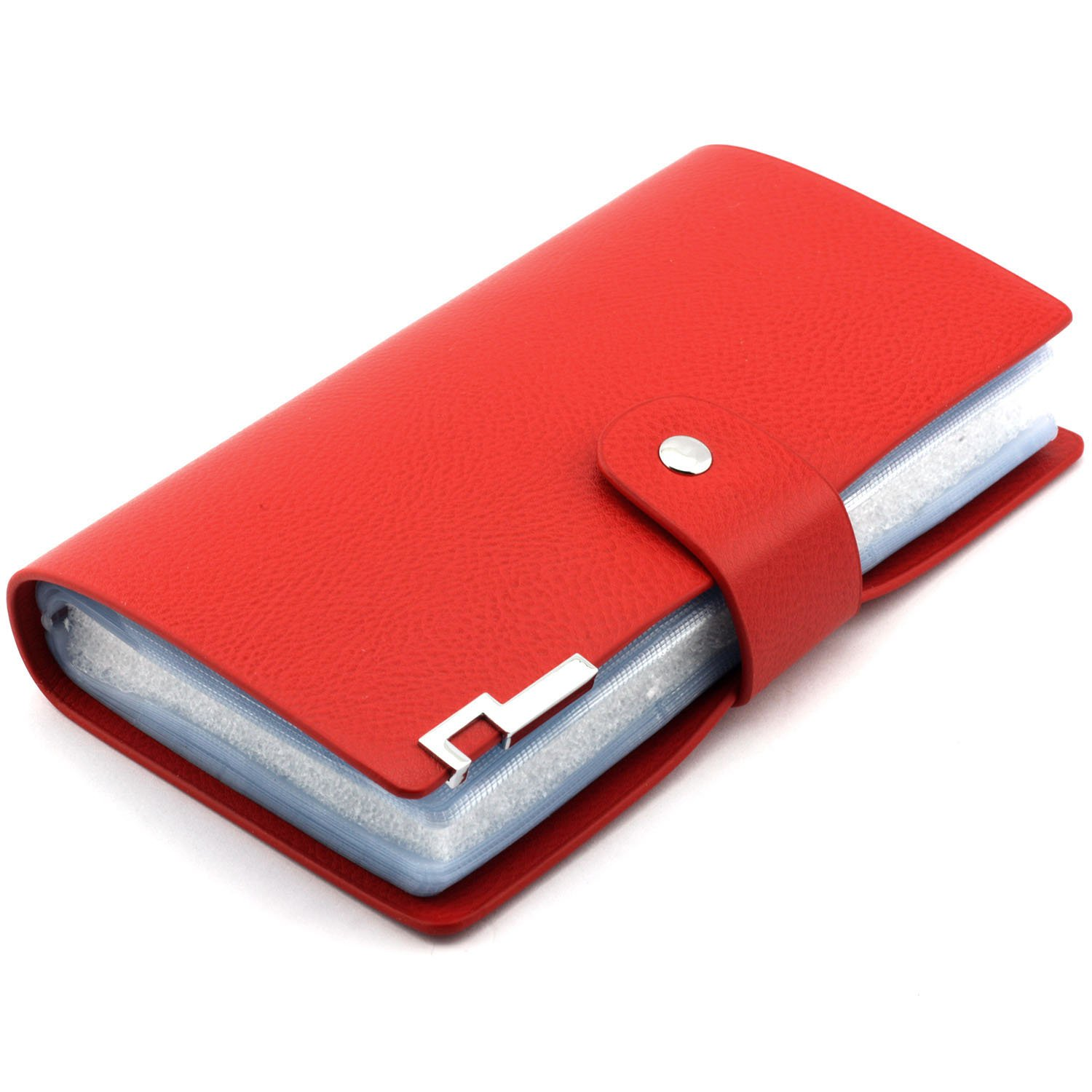 Longdex Soft Leather Business Name Card Holder Book with 102 Card Slots Credit Card Holder Wallet (Red)
