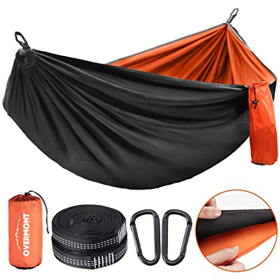 Overmont Double Layers Camping Hammock for Two German TUV Certificated Portable Outdoor Hammock Lightweight for Backpacking Hiking Sports Travel with Tree Straps Max Load of 880lbs: Sports & Outdoors