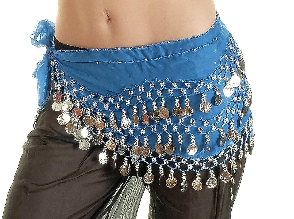 10 PCs Belly Dance Skirt Scarf Hip Wrap Belt Wholesale Low Price Chiffon Coins