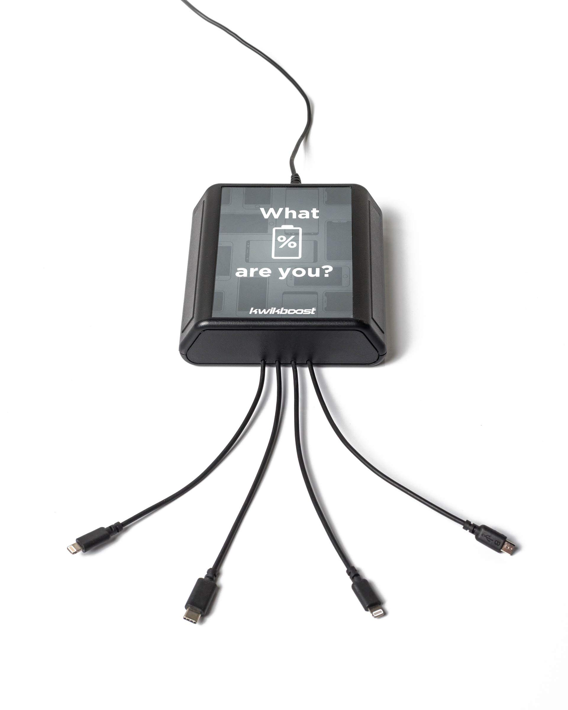 Kwikboost Table Top Mini Charging Hub. Station Charges 4 Cell Phones at Full Speed. Affordable Option Dorm Rooms, Patient Rooms, Library Tables, Waiting Rooms & More