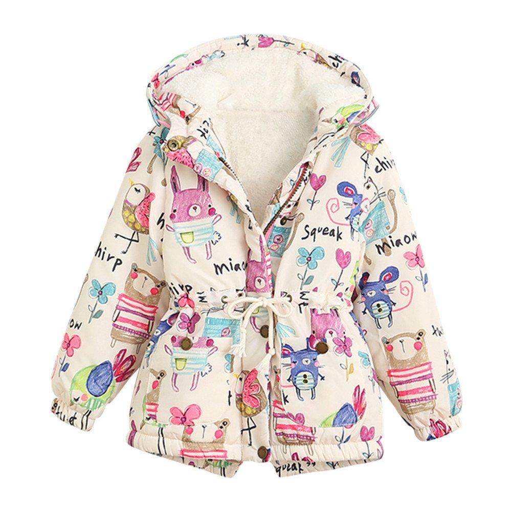 Mud Kingdom Girls' Cute Animal Print Faux Fur Hooded Coats SS0245