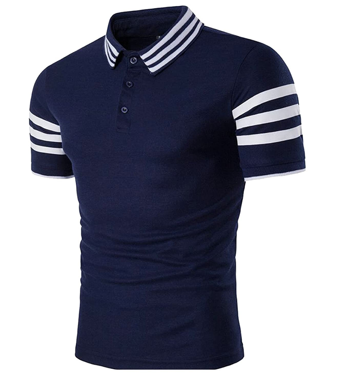 Qiangjinjiu Men Lapel Short Sleeve Splice Stripe Printed Button Down Stylish Polo Shirts