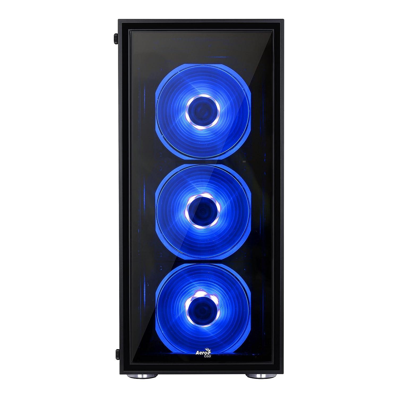 Aerocool QUARTZ - Caja gaming para PC (semitorre, ATX, 2 paneles de cristal templado, 7 ranuras de expansión, incluye 3 ventiladores frontales 12cm ...
