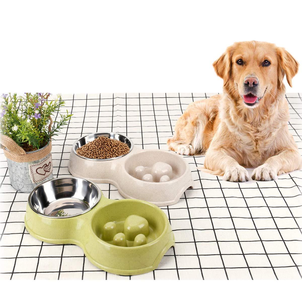 alimento del Perrito de la Anti-obstrucci/ón del Acero Inoxidable y alimentador del Agua para los Gatos del Perro Verde Tineer Cuenco Lento del alimentador del Perro casero Doble