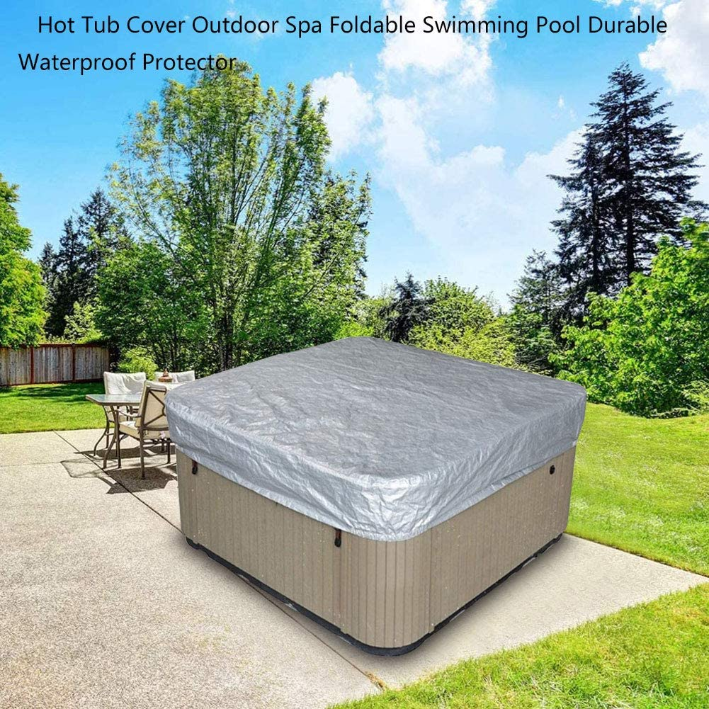 POHOVE Outdoor Square Hot Tub Cover,Waterproof Foldable SPA Hot Tub Covers,Outdoor Patio Furnitures Swimming Pool Dustproof Heat-Resistant UV Protection Cover