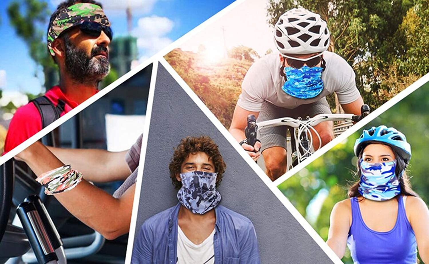 Cooling Neck Gaiter Face Mask Bandana Face Cover Mask Scarf Silk UV Protection Dust Face Shield Balaclava for Riding Fishing Cycling 5 Pcs Motorcycle Masks for Men Women