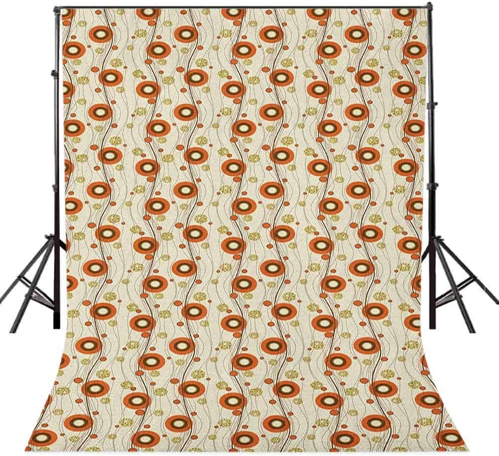 7x10 FT Peach Vinyl Photography Backdrop,Symmetrical Circular Shapes Pattern Abstract Background Soft Color Image Print Background for Party Home Decor Outdoorsy Theme Shoot Props